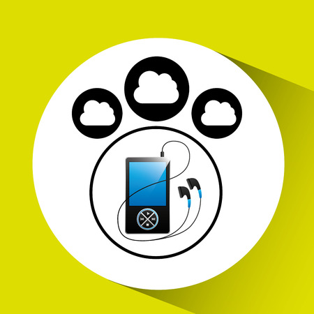 anywhere: music cloud connection mp3 digital graphic vector illustration Illustration