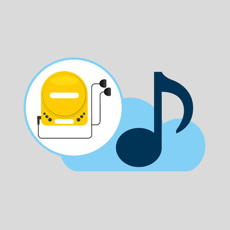 hand hold note music cloud and cd player vector illustration Illustration