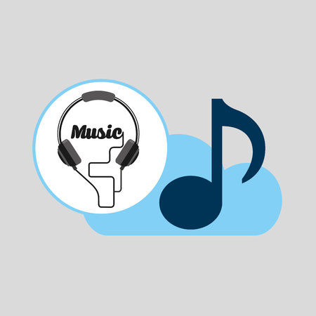 hand hold note music cloud and headphones vector illustration Illustration