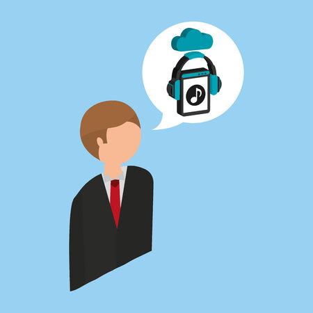 streaming: businessman music streaming design vector illustration Illustration