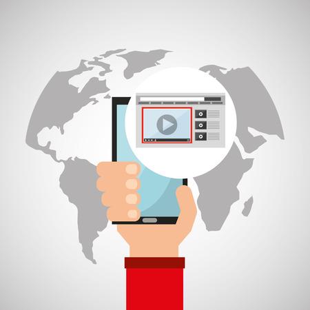 holds: hand holds smartphone multimedia video play online vector illustration Illustration