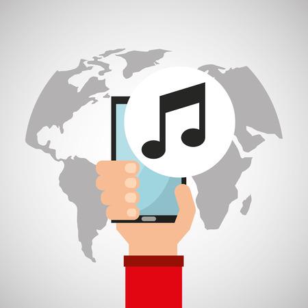 holds: hand holds smartphone music multimedia online vector illustration