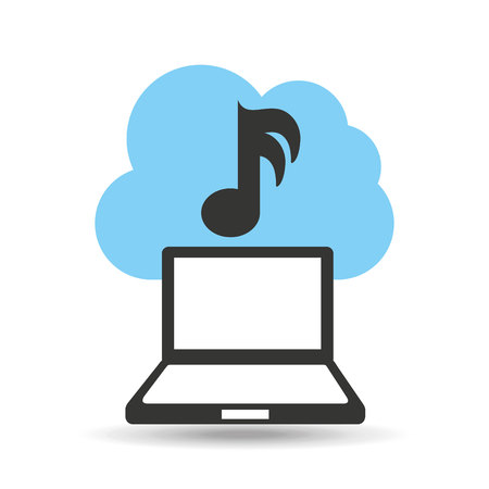 technology music cloud note icon vector illustration