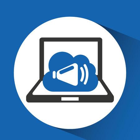 technology music cloud sound speaker vector illustration Illustration