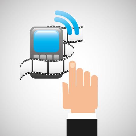 digi: hand gadget player wifi movie vector illustration Illustration