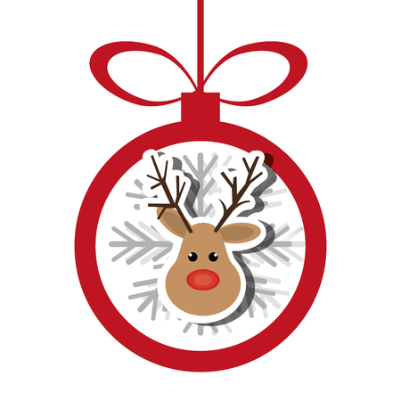 reindeer christmas character icon vector illustration design Illustration