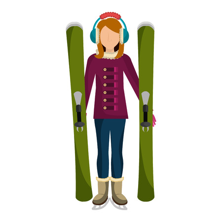 ski avatar with equipment vector illustration design