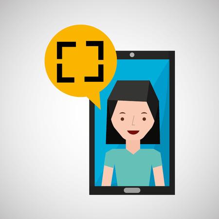 call centre girl: smartphone girl cartoon screen icon vector illustration