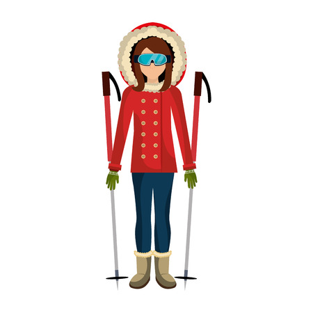 skier avatar with equipment vector illustration design Illustration