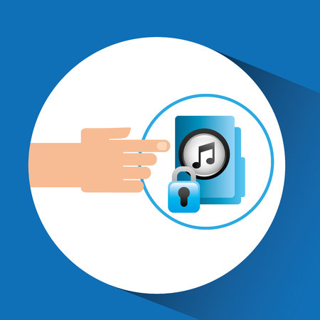 hand press: hand press folder file music security vector illustration