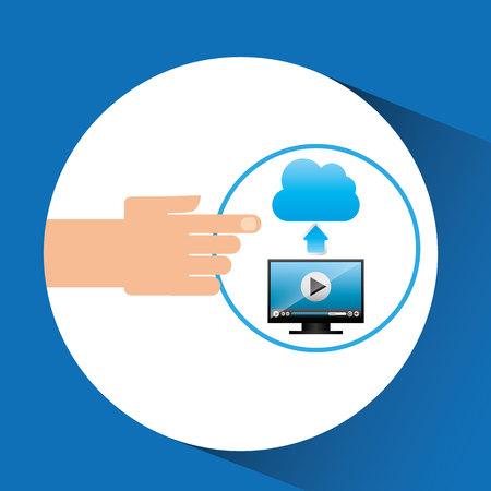 uploading: hand gadget player upload cloud video
