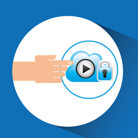 hand cloud player security vector illustration
