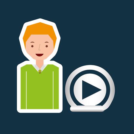pianista: juego de dibujos animados botón chico ilustración vectorial de diseño