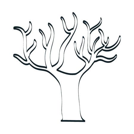 tree plant autumn line icon vector illustration design