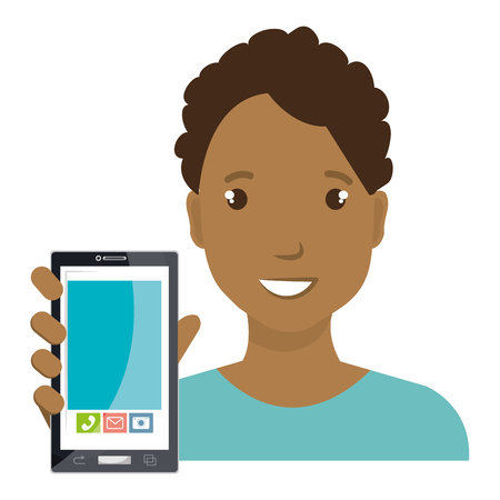 handphone: business person with smartphone vector illustration design Illustration