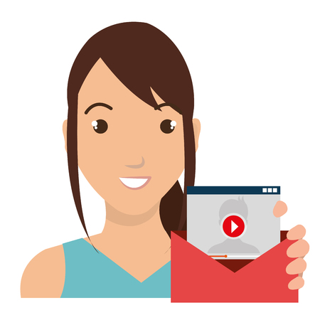 person avatar with envelope social marketing vector illustration design