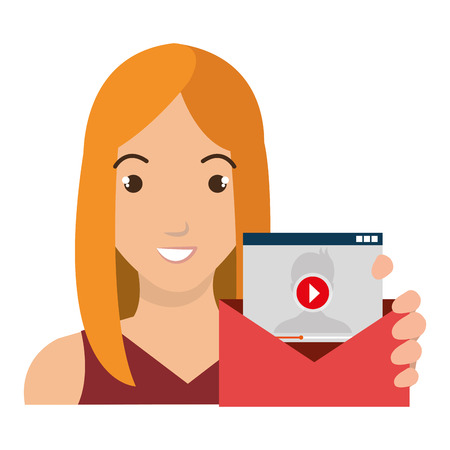 correspondence: person avatar with envelope social marketing vector illustration design