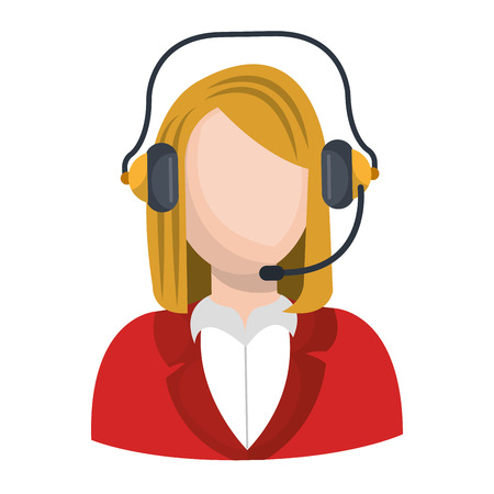 call centre girl: businesswoman character with headset icon vector illustration design