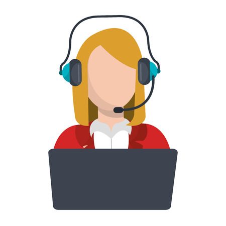 businesswoman character with headset icon vector illustration design