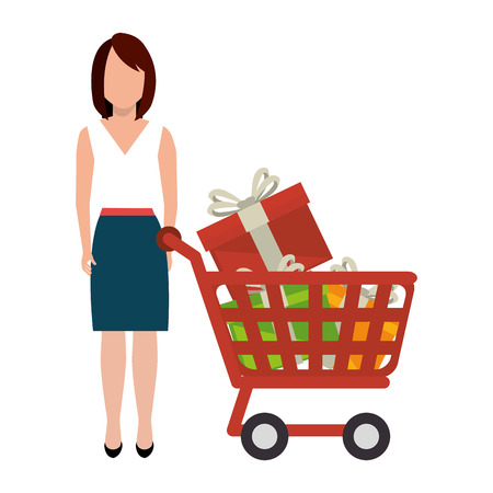 woman character with cart shopping vector illustration design Vectores