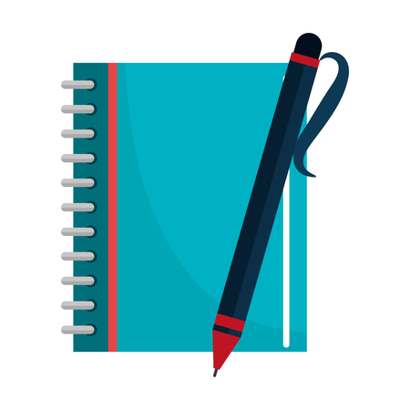notebook school with pen isolated icon vector illustration design
