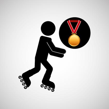 roller skating: roller skating medal sport extreme graphic vector illustration eps 10 Illustration