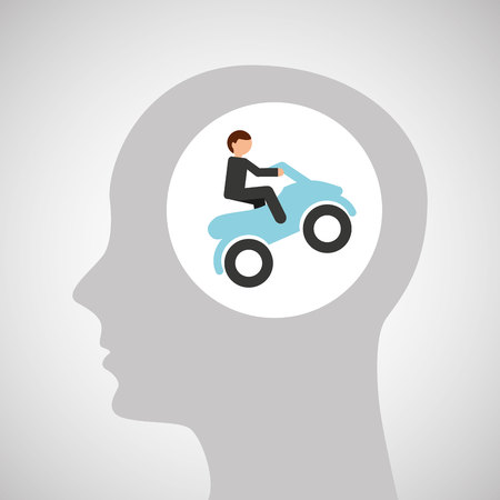 head silhouette atv rider extreme sport vector illustration eps 10