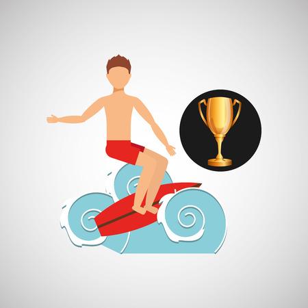 epic: surfer riding wave trophy sport design vector illustration eps 10 Illustration