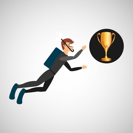 scuba diver man trophy sport design vector illustration eps 10