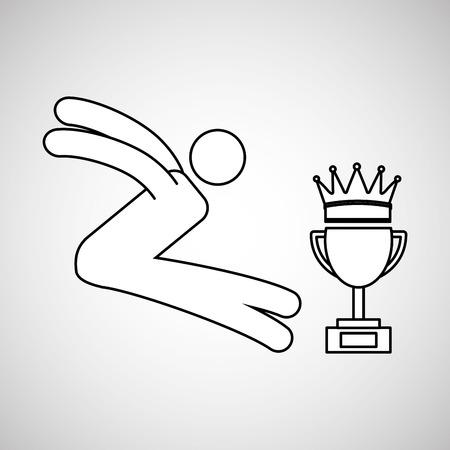long jump: silhouette person olong jump winner sport vector illustration eps 10 Illustration