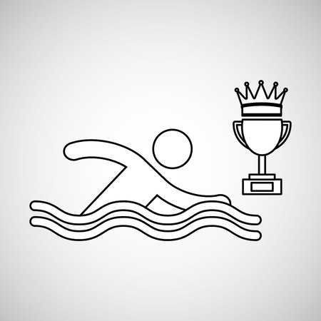 swimm: silhouette person swimm winner sport vector illustration eps 10