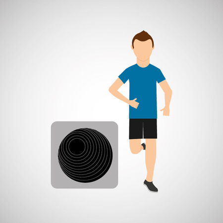 fitball: sport man running and fitball vector illustration eps 10