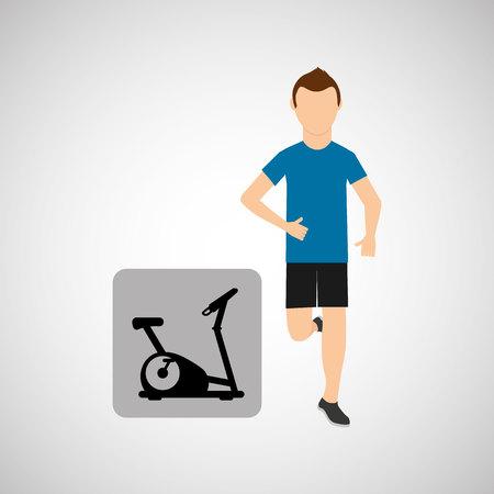 static bike: sport man running static bike vector illustration eps 10 Illustration