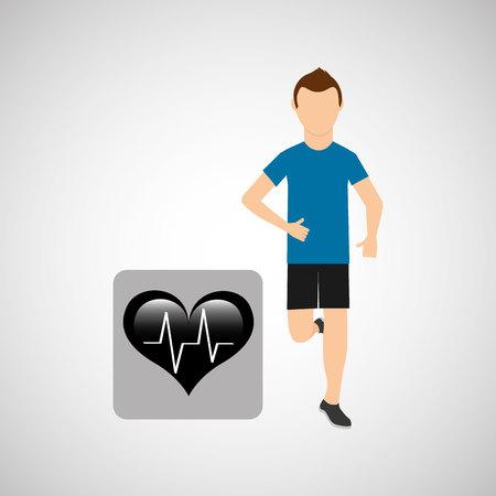 jogging in nature: sport man running monitoring heart vector illustration eps 10