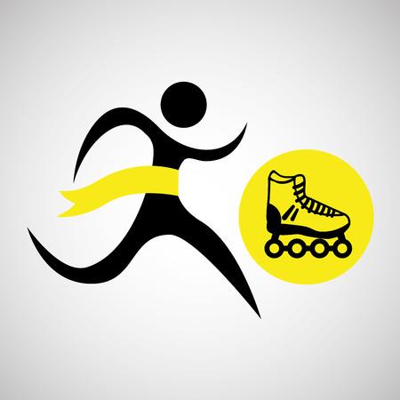 winner silhouette sport roller skate icon vector illustration eps 10