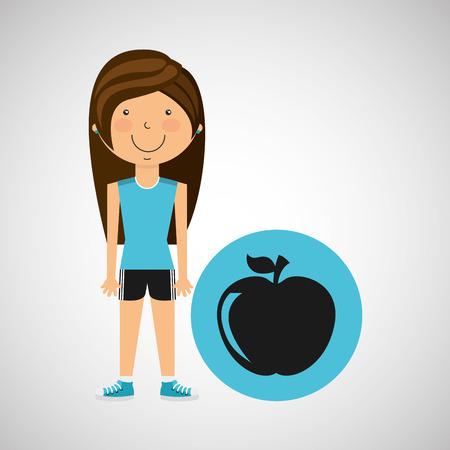 girl apple: athlete girl apple nutrition sport style vector illustration eps 10