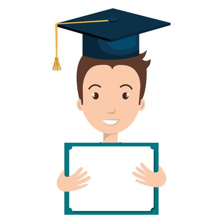 student graduate avatar with diploma icon vector illustration design