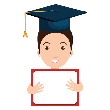 graduated: student graduate avatar with diploma icon vector illustration design