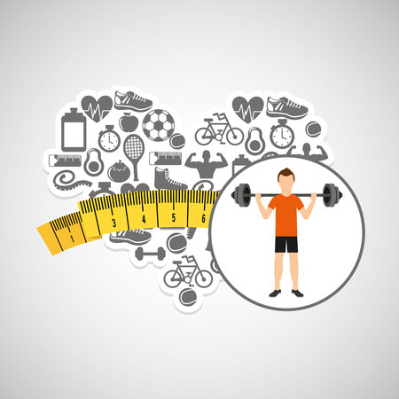 heart weight loss sport person weight barbell vector illustration eps 10
