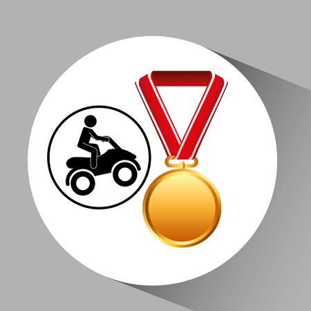 quad bike medal sport extreme graphic vector illustration eps 10