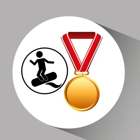 surfing medal sport extreme graphic vector illustration eps 10 Illustration