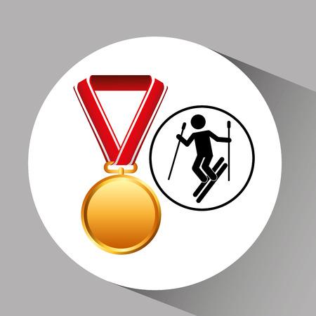 ski medal sport extreme graphic vector illustration eps 10