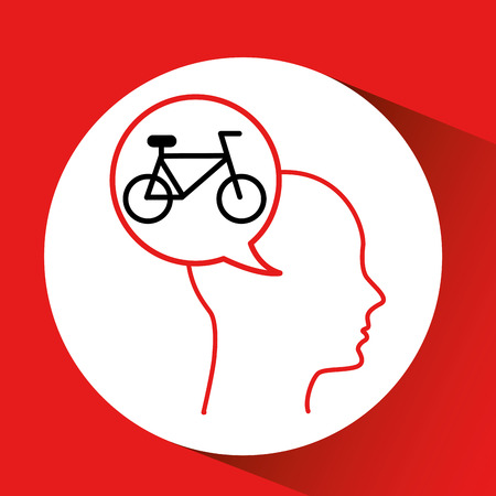 head silhouette bicycle extreme sport vector illustration eps 10