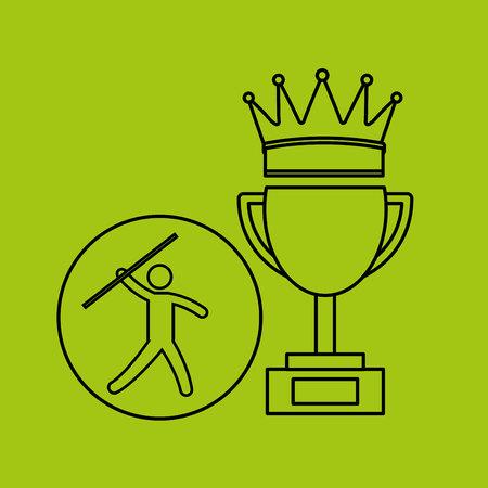 lanzamiento de jabalina: silueta de la persona ganadora de jabalina deporte ilustración vectorial eps 10