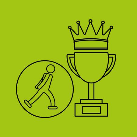 roller blade: silhouette person roller skate winner sport vector illustration eps 10 Illustration
