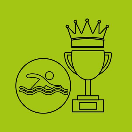 silhouette person swimm winner sport vector illustration eps 10