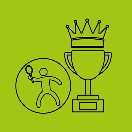 wimbledon: silhouette person tennis winner sport vector illustration eps 10