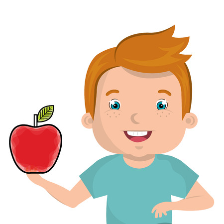 little kid with apple vector illustration design Illustration