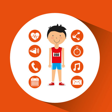 sportsmen: sportsman athlete young apps icons vector illustration eps 10