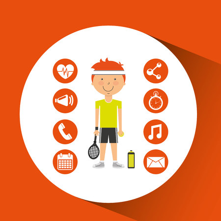 sportsman: sportsman tennis racket apps icons vector illustration eps 10